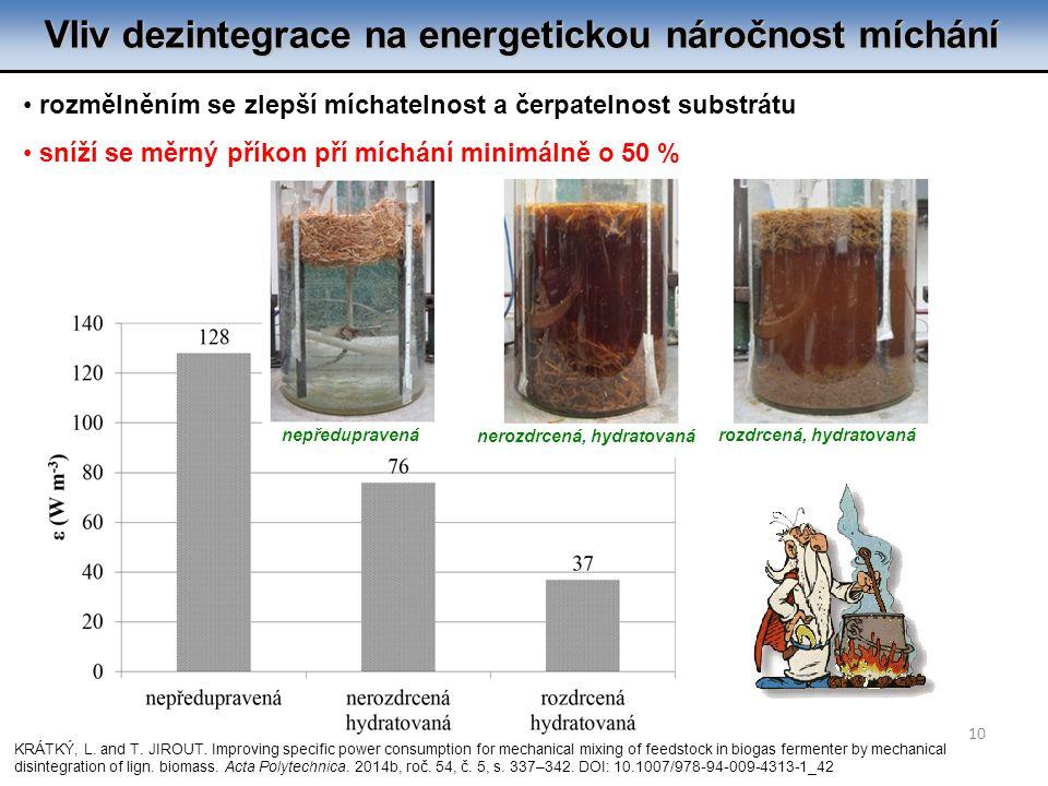 Vliv dezintegrace na energetickou náročnost míchání 10 rozmělněním se zlepší míchatelnost a čerpatelnost substrátu sníží se měrný příkon pří míchání minimálně o 50 % KRÁTKÝ, L.