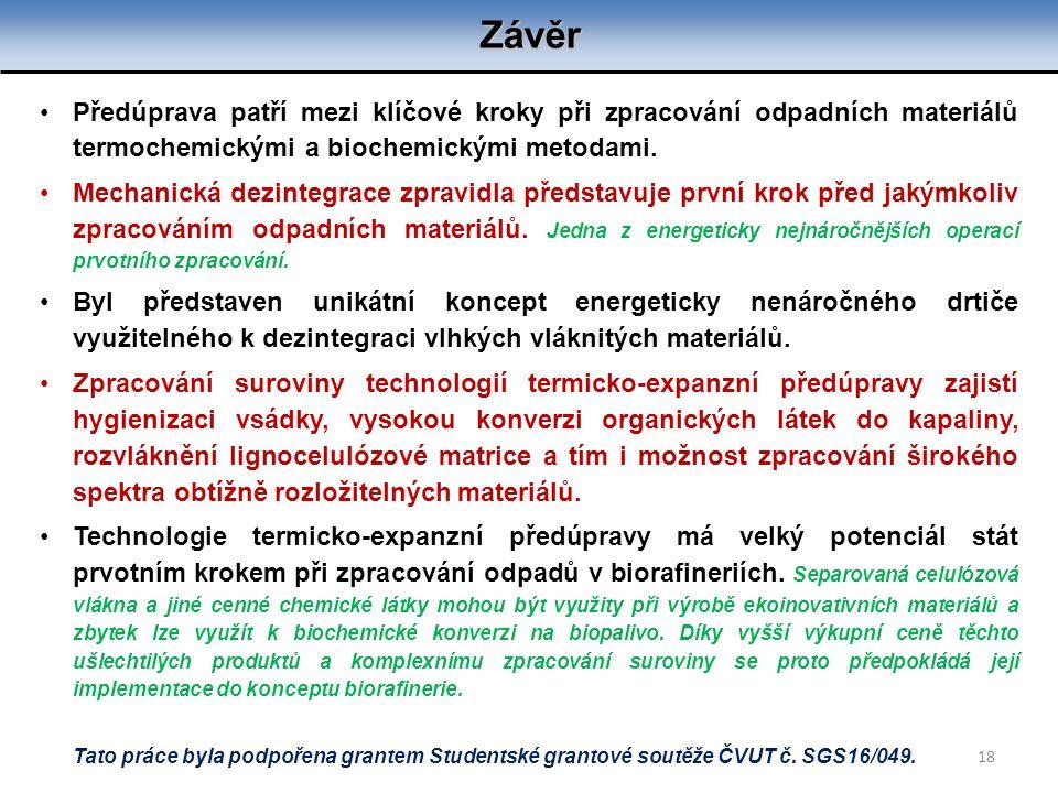 Závěr 18 Předúprava patří mezi klíčové kroky při zpracování odpadních materiálů termochemickými a biochemickými metodami. Mechanická dezintegrace zpra