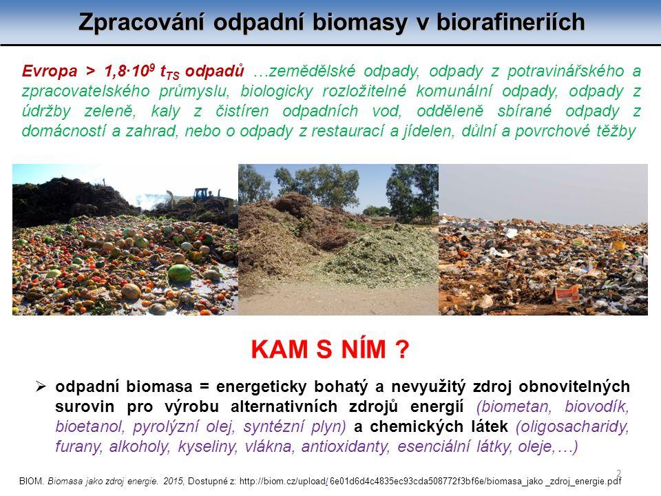 Zpracování odpadní biomasy v biorafineriích 2  odpadní biomasa = energeticky bohatý a nevyužitý zdroj obnovitelných surovin pro výrobu alternativních zdrojů energií (biometan, biovodík, bioetanol, pyrolýzní olej, syntézní plyn) a chemických látek (oligosacharidy, furany, alkoholy, kyseliny, vlákna, antioxidanty, esenciální látky, oleje,…) Evropa > 1,8∙10 9 t TS odpadů …zemědělské odpady, odpady z potravinářského a zpracovatelského průmyslu, biologicky rozložitelné komunální odpady, odpady z údržby zeleně, kaly z čistíren odpadních vod, odděleně sbírané odpady z domácností a zahrad, nebo o odpady z restaurací a jídelen, důlní a povrchové těžby KAM S NÍM .