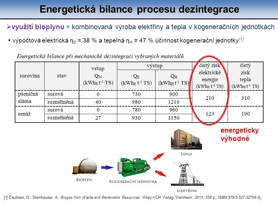 Energetická bilance procesu dezintegrace 9  využití bioplynu = kombinovaná výroba elektřiny a tepla v kogeneračních jednotkách výpočtová elektrická η