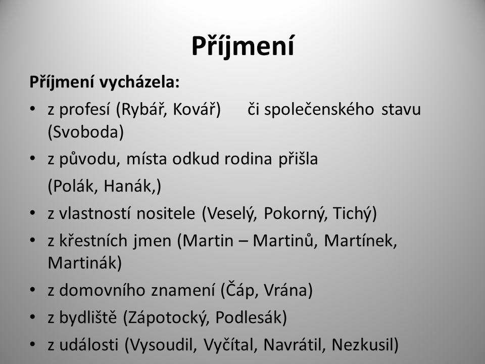 Příjmení Příjmení vycházela: z profesí (Rybář, Kovář) či společenského stavu (Svoboda) z původu, místa odkud rodina přišla (Polák, Hanák,) z vlastnost