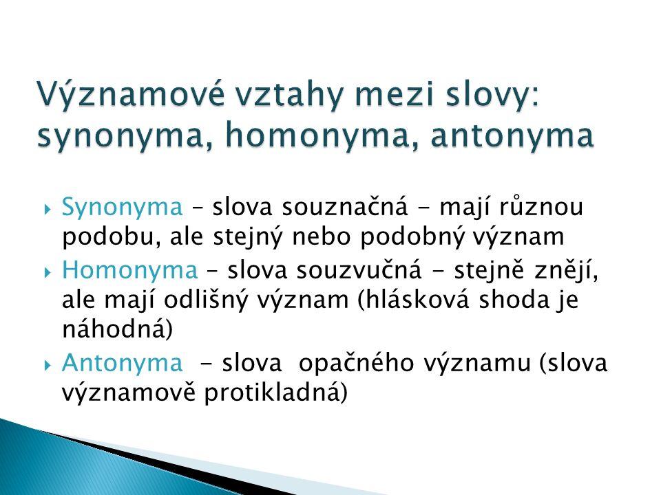  Synonyma – slova souznačná - mají různou podobu, ale stejný nebo podobný význam  Homonyma – slova souzvučná - stejně znějí, ale mají odlišný význam (hlásková shoda je náhodná)  Antonyma - slova opačného významu (slova významově protikladná)