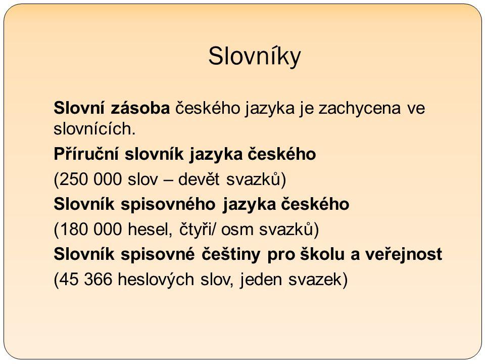 Slovníky Slovní zásoba českého jazyka je zachycena ve slovnících.
