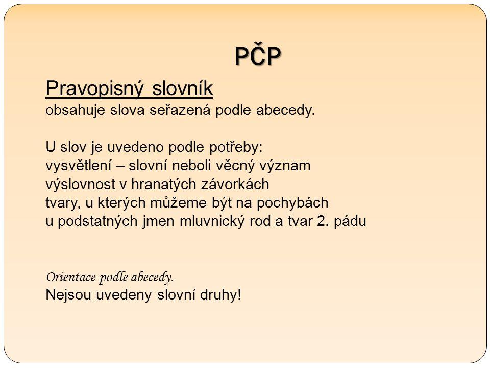 PČP Pravopisný slovník obsahuje slova seřazená podle abecedy.