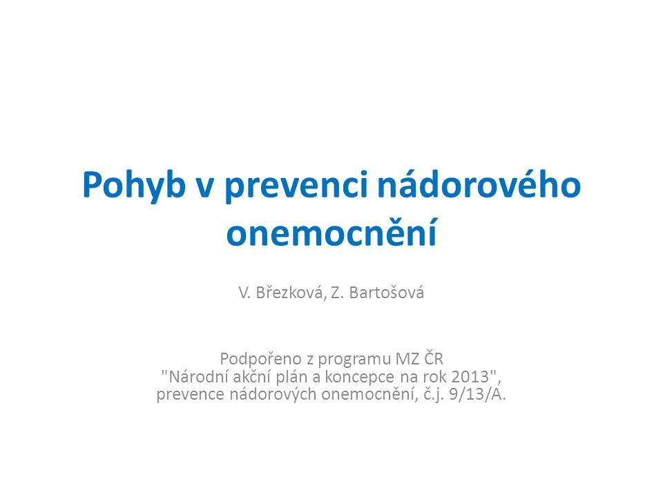 Pohyb v prevenci nádorového onemocnění V. Březková, Z.