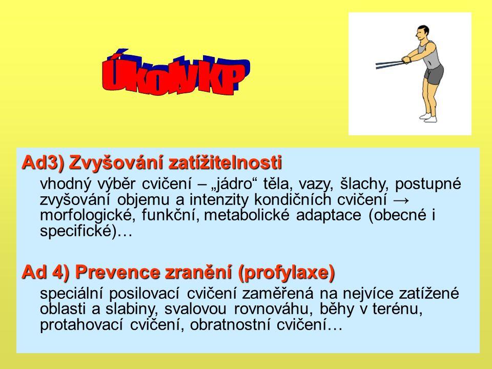 """Ad3) Zvyšování zatížitelnosti vhodný výběr cvičení – """"jádro těla, vazy, šlachy, postupné zvyšování objemu a intenzity kondičních cvičení → morfologické, funkční, metabolické adaptace (obecné i specifické)… Ad 4) Prevence zranění (profylaxe) speciální posilovací cvičení zaměřená na nejvíce zatížené oblasti a slabiny, svalovou rovnováhu, běhy v terénu, protahovací cvičení, obratnostní cvičení…"""