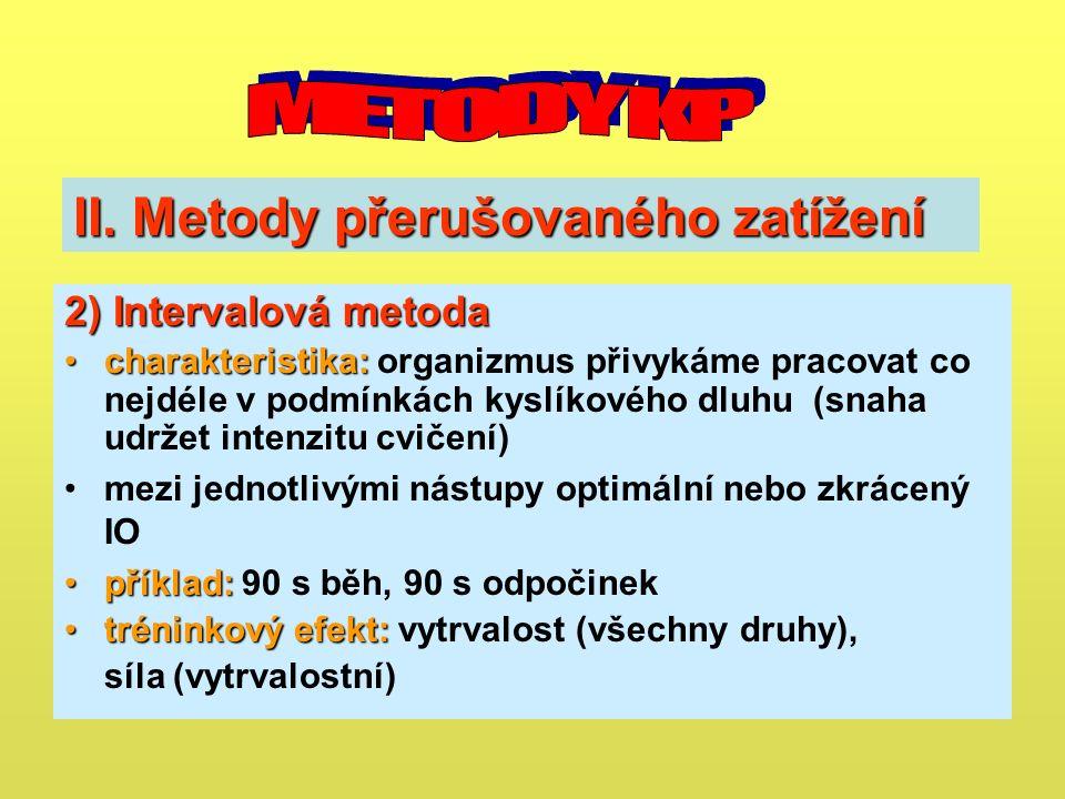 II. Metody přerušovaného zatížení 2)Intervalová metoda 2) Intervalová metoda charakteristika:charakteristika: organizmus přivykáme pracovat co nejdéle