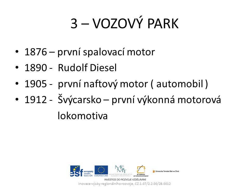 3 – VOZOVÝ PARK 1876 – první spalovací motor 1890 - Rudolf Diesel 1905 - první naftový motor ( automobil ) 1912 - Švýcarsko – první výkonná motorová lokomotiva Inovace výuky regionálního rozvoje, CZ.1.07/2.2.00/28.0012