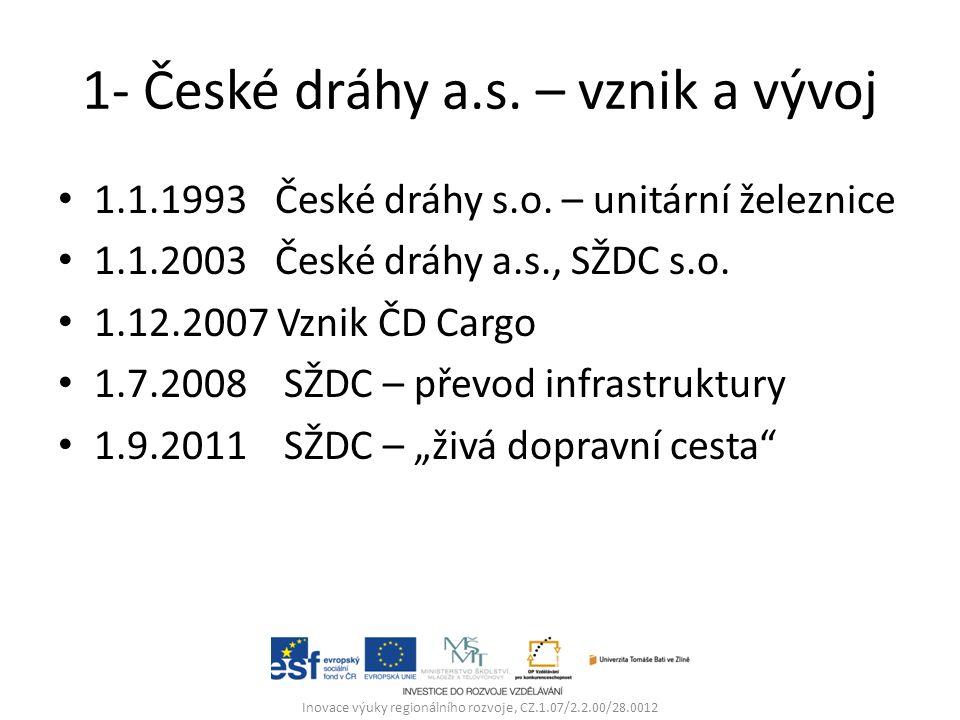 1- České dráhy a.s. – vznik a vývoj 1.1.1993 České dráhy s.o.