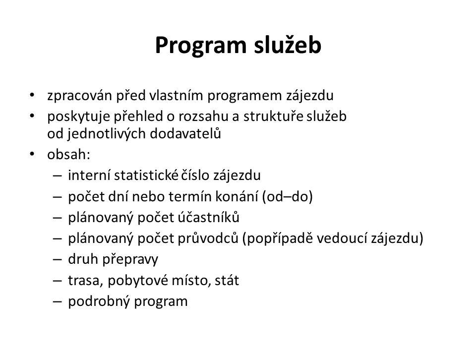 Program služeb zpracován před vlastním programem zájezdu poskytuje přehled o rozsahu a struktuře služeb od jednotlivých dodavatelů obsah: – interní st