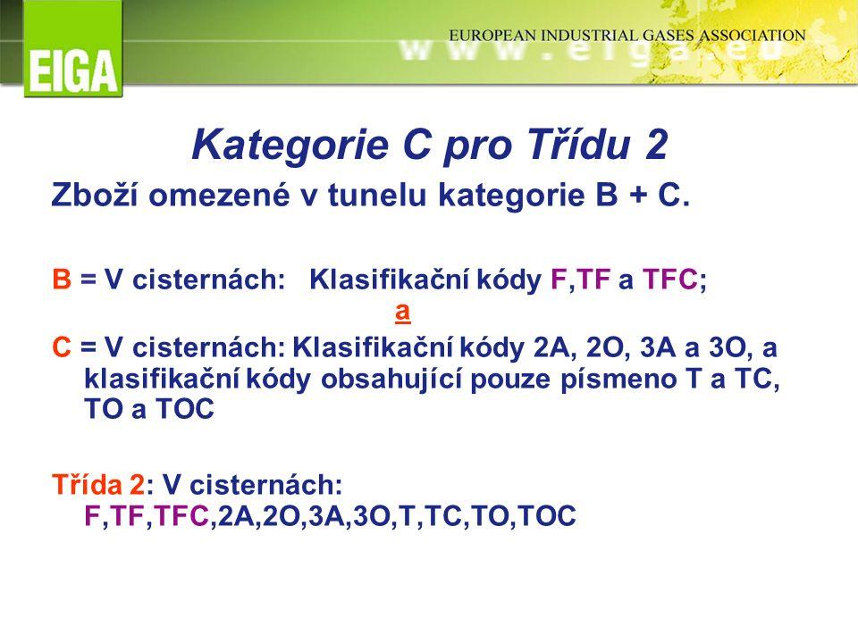 Kategorie C pro Třídu 2 Zboží omezené v tunelu kategorie B + C. B = V cisternách:Klasifikační kódy F,TF a TFC; a C = V cisternách: Klasifikační kódy 2