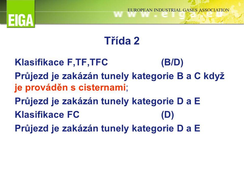Třída 2 Klasifikace F,TF,TFC (B/D) Průjezd je zakázán tunely kategorie B a C když je prováděn s cisternami; Průjezd je zakázán tunely kategorie D a E Klasifikace FC(D) Průjezd je zakázán tunely kategorie D a E
