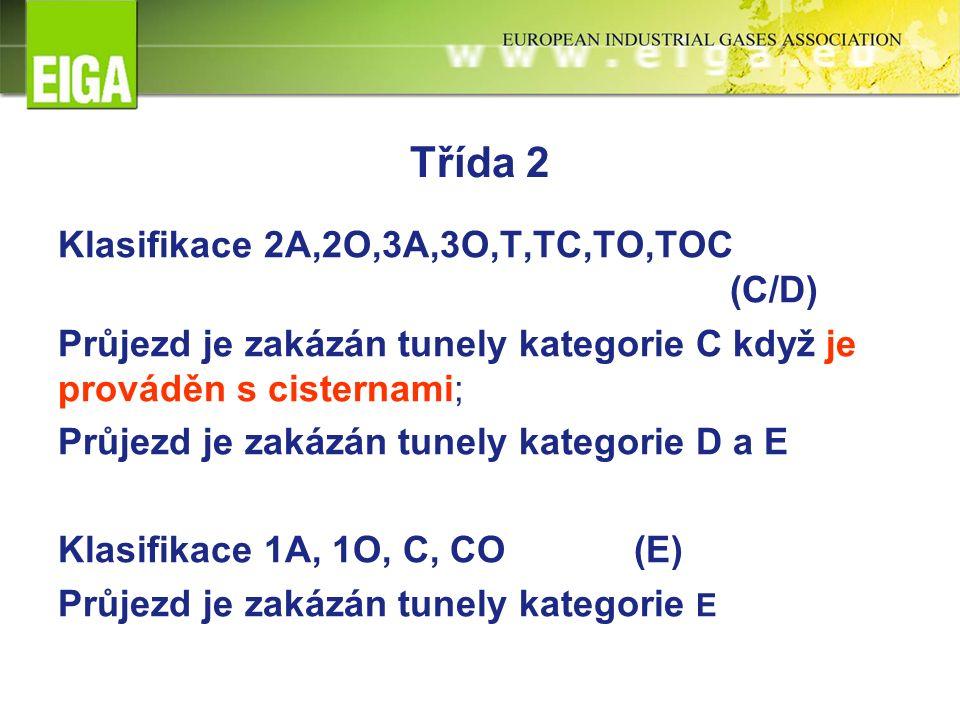 Třída 2 Klasifikace 2A,2O,3A,3O,T,TC,TO,TOC (C/D) Průjezd je zakázán tunely kategorie C když je prováděn s cisternami; Průjezd je zakázán tunely kategorie D a E Klasifikace 1A, 1O, C, CO(E) Průjezd je zakázán tunely kategorie E