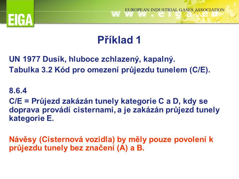 Příklad 1 UN 1977 Dusík, hluboce zchlazený, kapalný. Tabulka 3.2 Kód pro omezení průjezdu tunelem (C/E). 8.6.4 C/E = Průjezd zakázán tunely kategorie