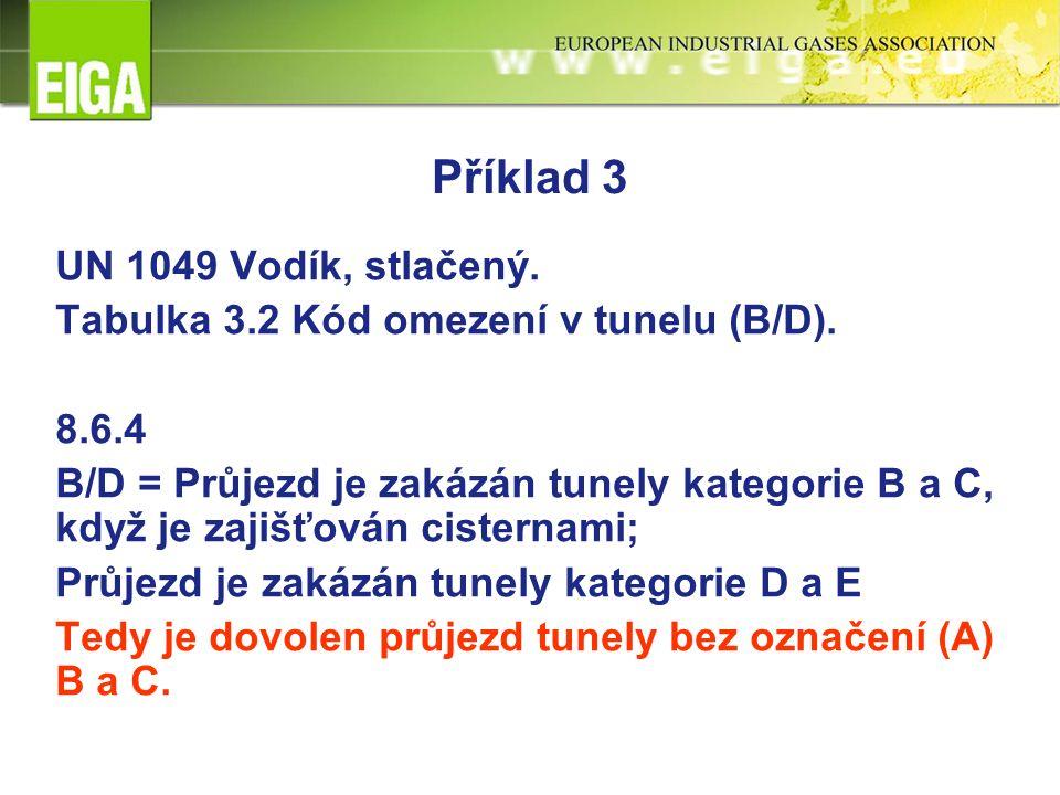 Příklad 3 UN 1049 Vodík, stlačený. Tabulka 3.2 Kód omezení v tunelu (B/D). 8.6.4 B/D = Průjezd je zakázán tunely kategorie B a C, když je zajišťován c