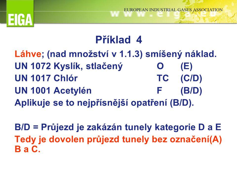 Příklad 4 Láhve; (nad množství v 1.1.3) smíšený náklad. UN 1072 Kyslík, stlačenýO(E) UN 1017 ChlórTC(C/D) UN 1001 AcetylénF(B/D) Aplikuje se to nejpří