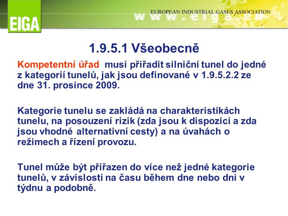 1.9.5.1 Všeobecně Kompetentní úřad musí přiřadit silniční tunel do jedné z kategorií tunelů, jak jsou definované v 1.9.5.2.2 ze dne 31. prosince 2009.
