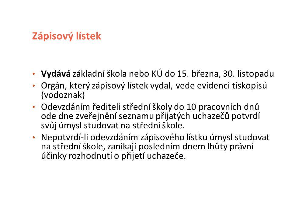 Zápisový lístek Vydává základní škola nebo KÚ do 15.