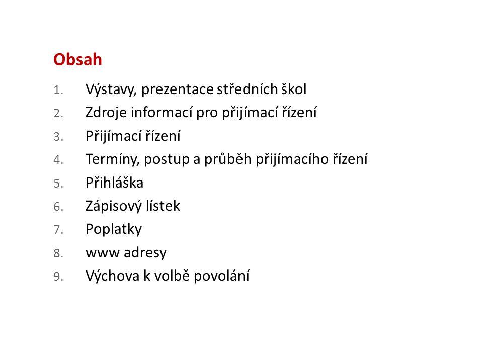Obsah 1. Výstavy, prezentace středních škol 2. Zdroje informací pro přijímací řízení 3.