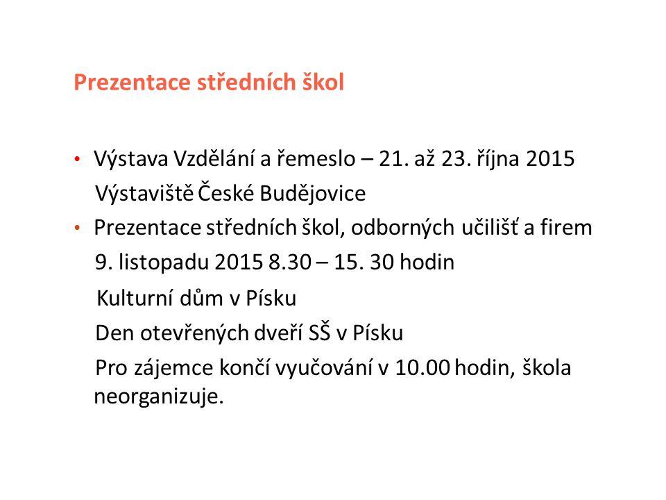 Prezentace středních škol Výstava Vzdělání a řemeslo – 21.