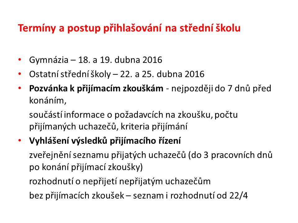 Termíny a postup přihlašování na střední školu Gymnázia – 18.