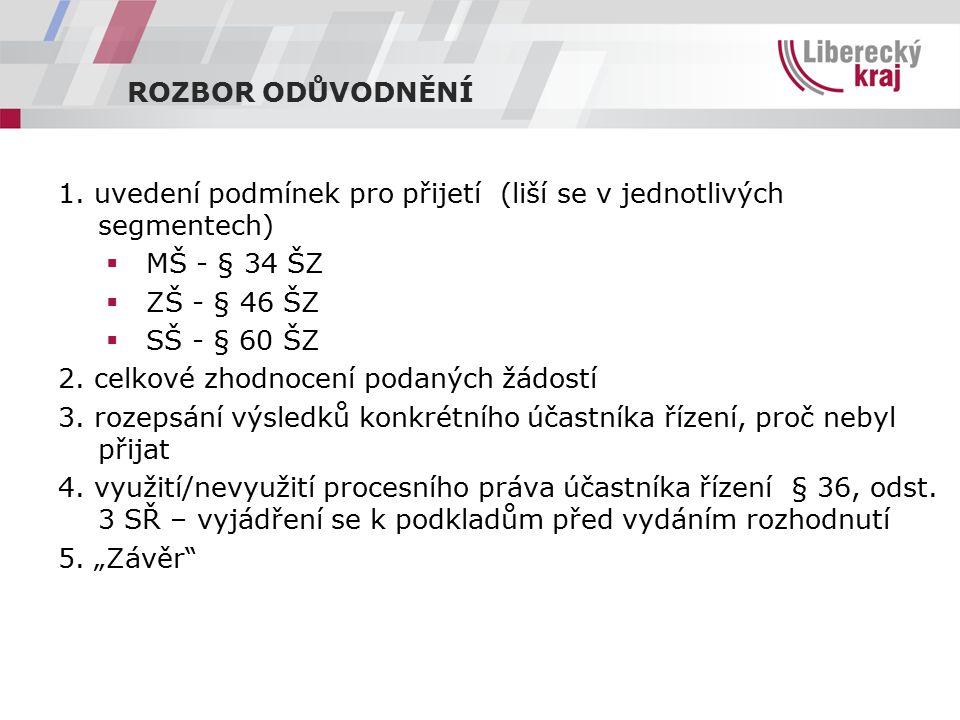 ROZBOR ODŮVODNĚNÍ 1.