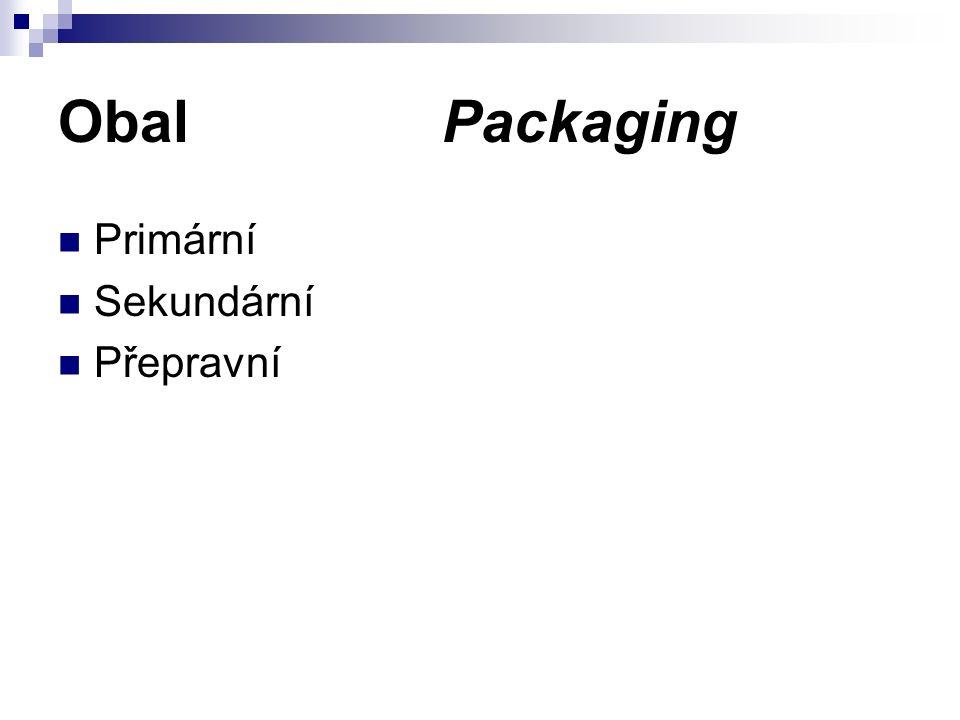 Obal Packaging Primární Sekundární Přepravní
