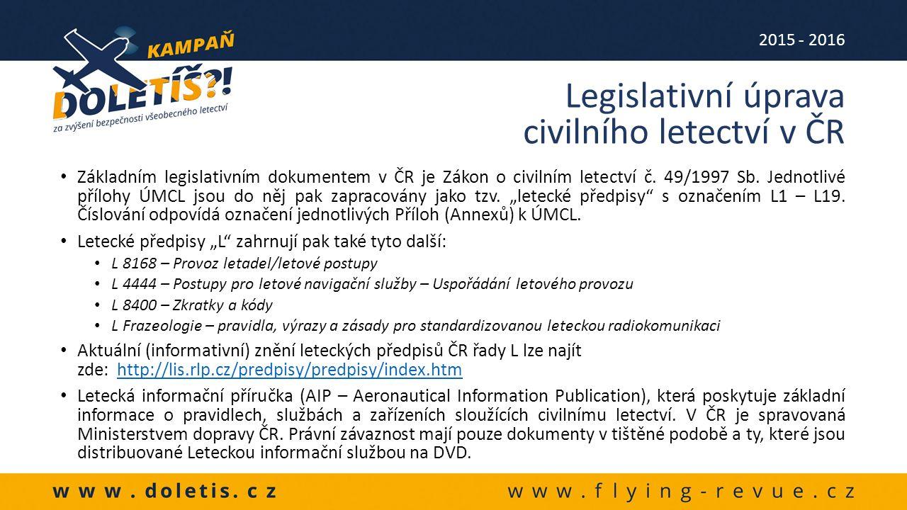 Základním legislativním dokumentem v ČR je Zákon o civilním letectví č.