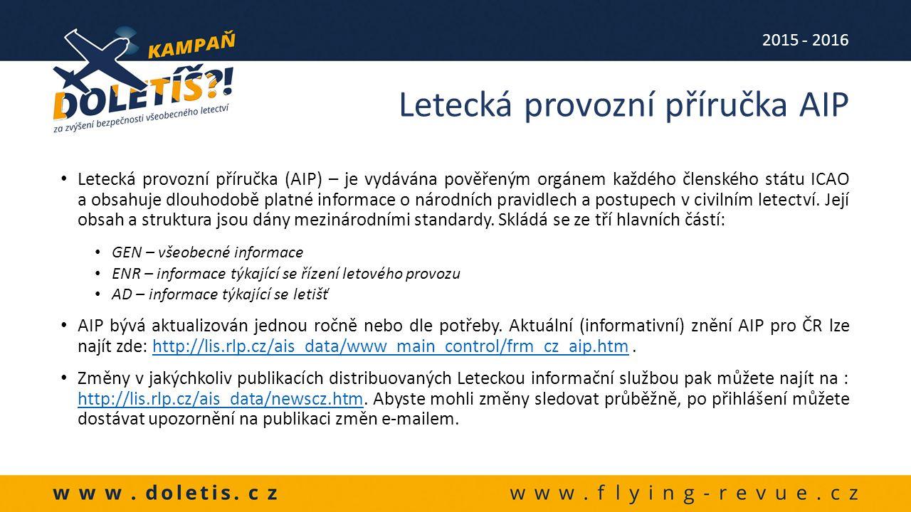 Letecká provozní příručka (AIP) – je vydávána pověřeným orgánem každého členského státu ICAO a obsahuje dlouhodobě platné informace o národních pravidlech a postupech v civilním letectví.