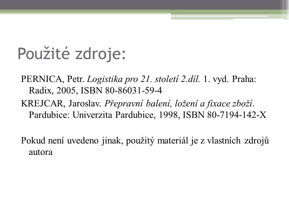 Použité zdroje: PERNICA, Petr. Logistika pro 21. století 2.díl. 1. vyd. Praha: Radix, 2005, ISBN 80-86031-59-4 KREJCAR, Jaroslav. Přepravní balení, lo