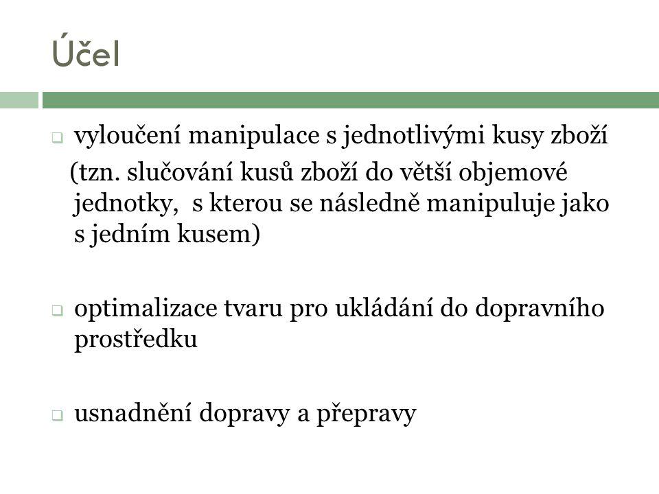Účel  vyloučení manipulace s jednotlivými kusy zboží (tzn.