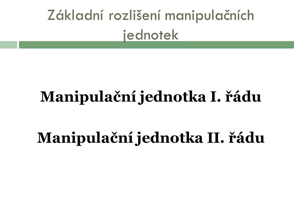 Základní rozlišení manipulačních jednotek Manipulační jednotka I.