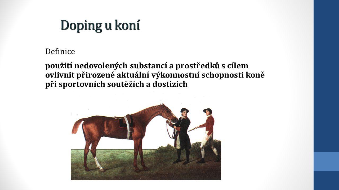Doping u koní Definice použití nedovolených substancí a prostředků s cílem ovlivnit přirozené aktuální výkonnostní schopnosti koně při sportovních sou