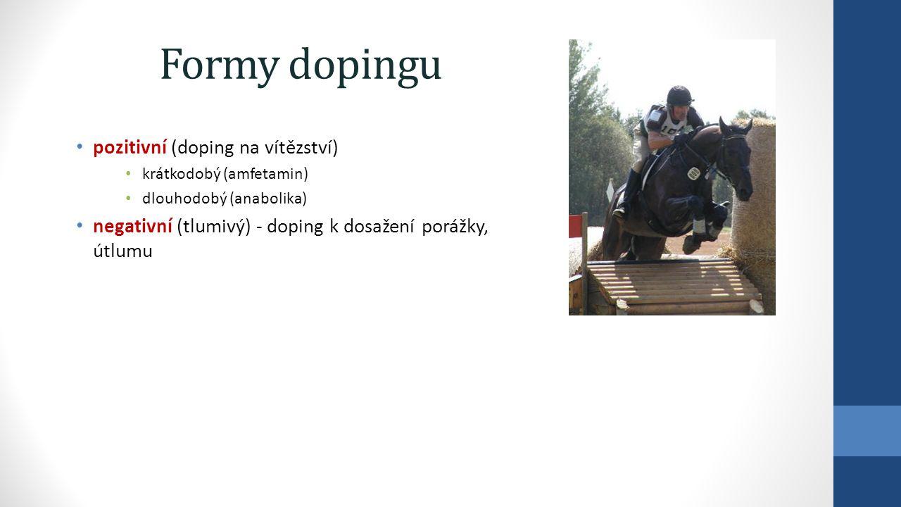 Formy dopingu pozitivní (doping na vítězství) krátkodobý (amfetamin) dlouhodobý (anabolika) negativní (tlumivý) - doping k dosažení porážky, útlumu