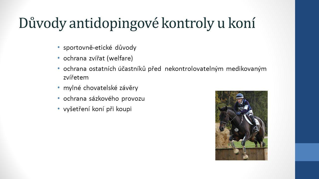 Důvody antidopingové kontroly u koní sportovně-etické důvody ochrana zvířat (welfare) ochrana ostatních účastníků před nekontrolovatelným medikovaným