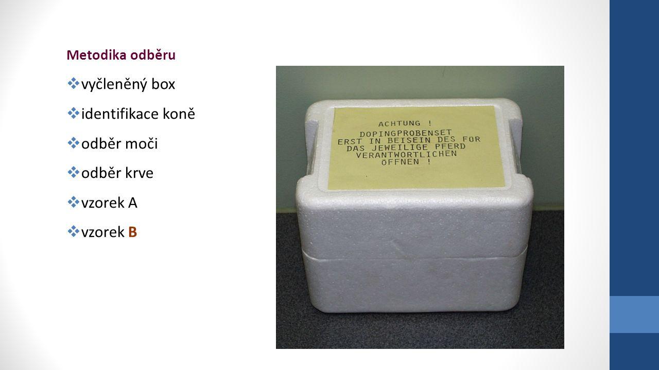 Metodika odběru  vyčleněný box  identifikace koně  odběr moči  odběr krve  vzorek A  vzorek B