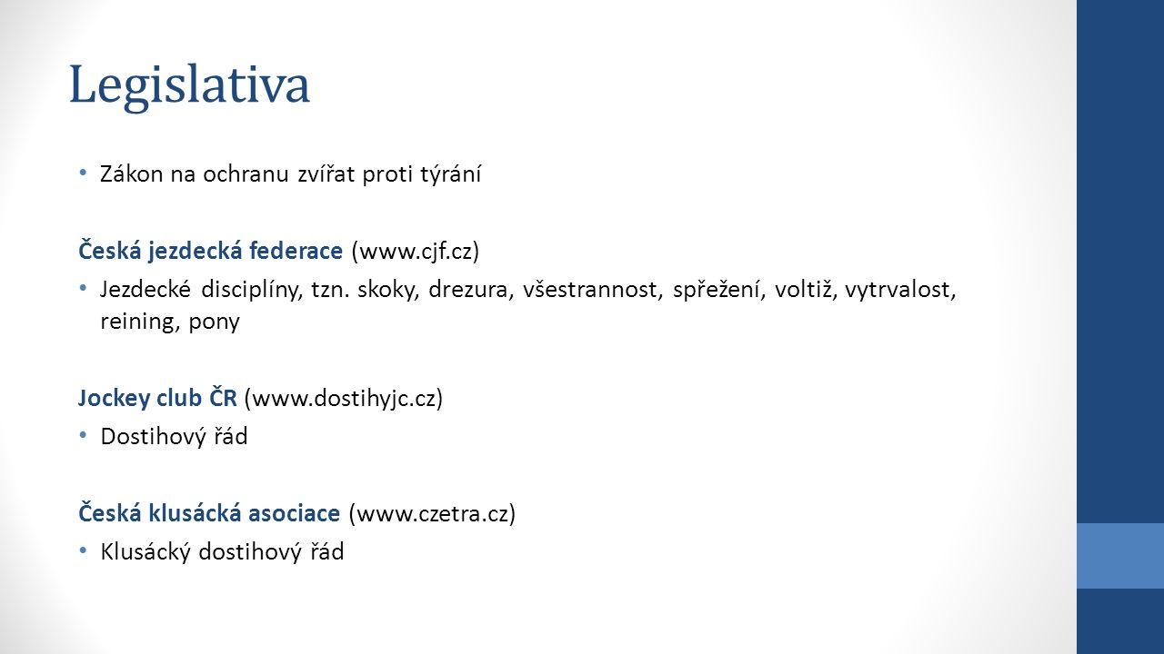Legislativa Zákon na ochranu zvířat proti týrání Česká jezdecká federace (www.cjf.cz) Jezdecké disciplíny, tzn. skoky, drezura, všestrannost, spřežení