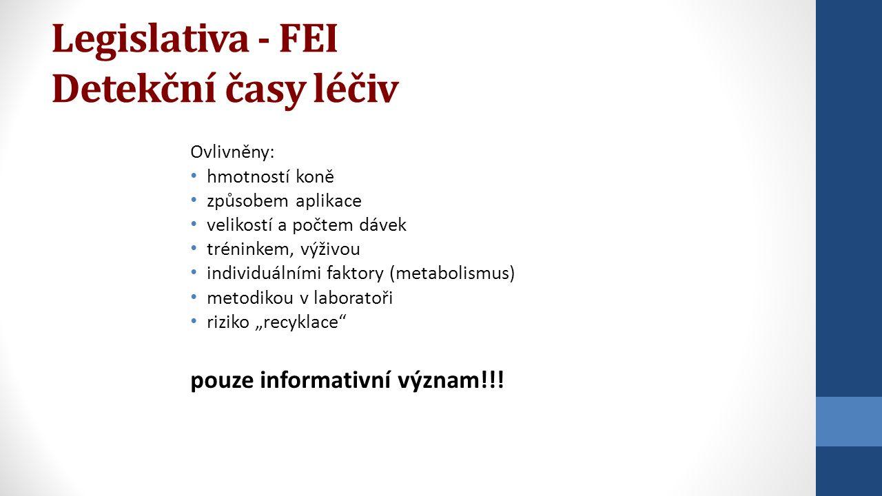 Legislativa - FEI Detekční časy léčiv Ovlivněny: hmotností koně způsobem aplikace velikostí a počtem dávek tréninkem, výživou individuálními faktory (