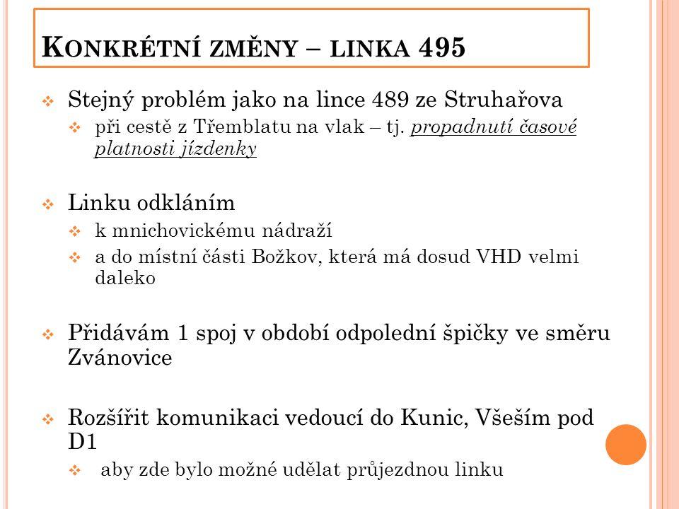 K ONKRÉTNÍ ZMĚNY – LINKA 495  Stejný problém jako na lince 489 ze Struhařova  při cestě z Třemblatu na vlak – tj.