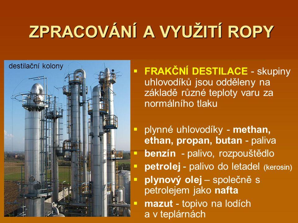ZPRACOVÁNÍ A VYUŽITÍ ROPY   FRAKČNÍ DESTILACE - skupiny uhlovodíků jsou odděleny na základě různé teploty varu za normálního tlaku   plynné uhlovodíky - methan, ethan, propan, butan - paliva   benzín - palivo, rozpouštědlo   petrolej - palivo do letadel (kerosin)   plynový olej – společně s petrolejem jako nafta   mazut - topivo na lodích a v teplárnách destilační kolony