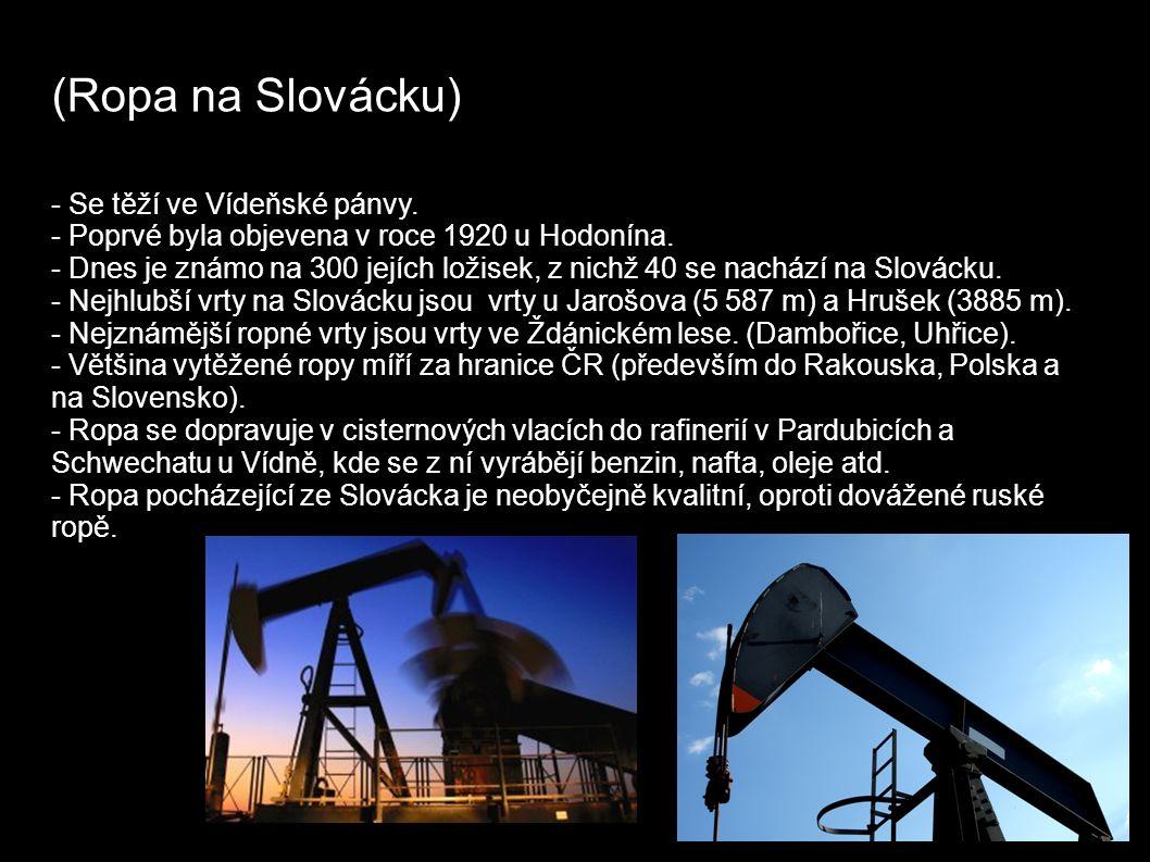 (Ropa na Slovácku) - Se těží ve Vídeňské pánvy. - Poprvé byla objevena v roce 1920 u Hodonína.