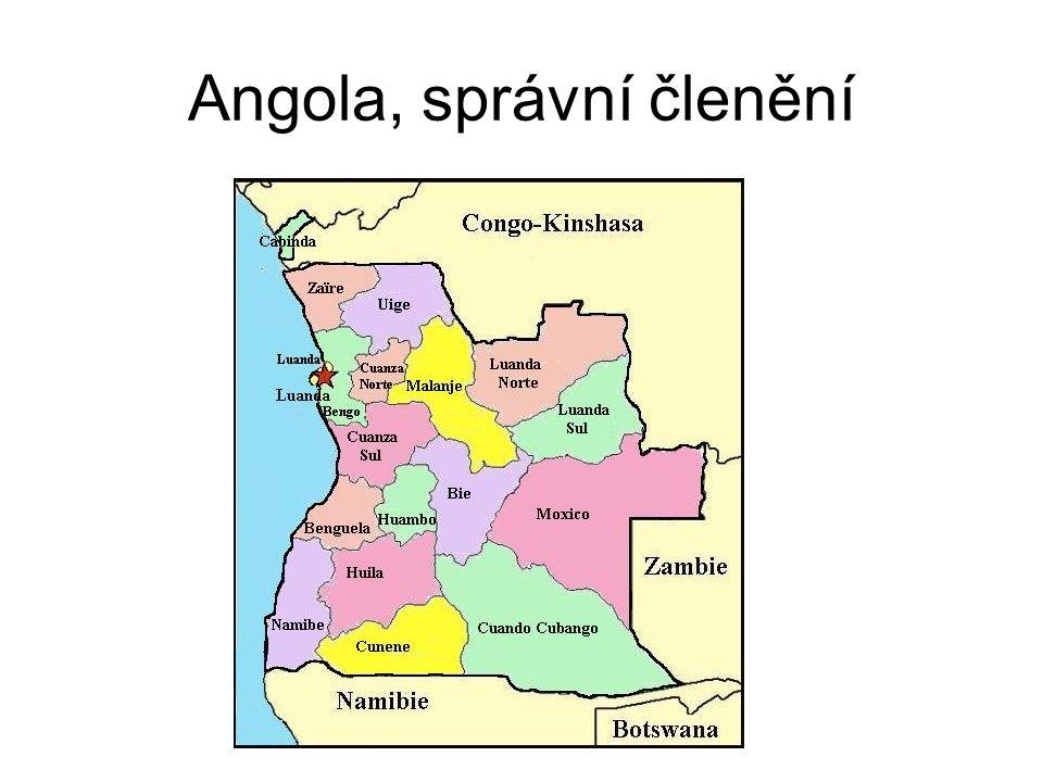 Angola, správní členění