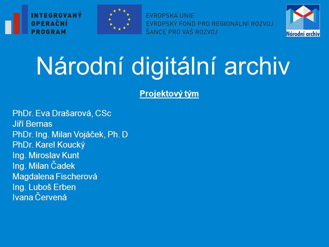 Národní digitální archiv Projektový tým PhDr. Eva Drašarová, CSc Jiří Bernas PhDr.