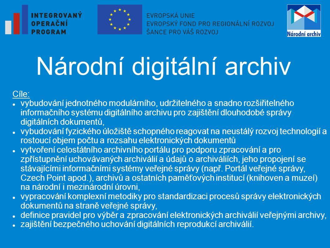 Národní digitální archiv Cíle: vybudování jednotného modulárního, udržitelného a snadno rozšiřitelného informačního systému digitálního archivu pro za