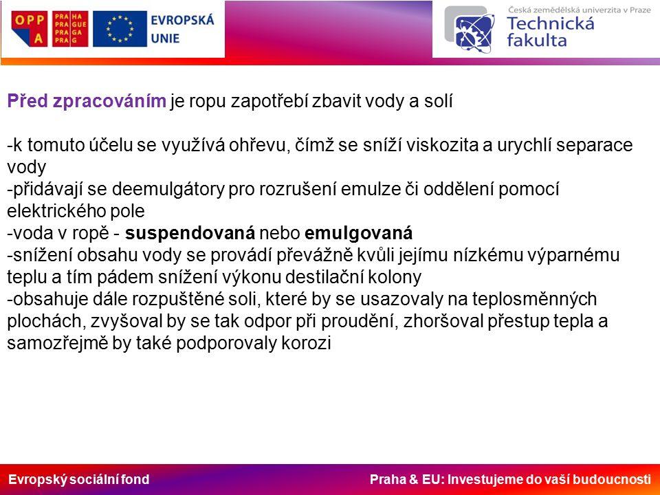 Evropský sociální fond Praha & EU: Investujeme do vaší budoucnosti Před zpracováním je ropu zapotřebí zbavit vody a solí -k tomuto účelu se využívá ohřevu, čímž se sníží viskozita a urychlí separace vody -přidávají se deemulgátory pro rozrušení emulze či oddělení pomocí elektrického pole -voda v ropě - suspendovaná nebo emulgovaná -snížení obsahu vody se provádí převážně kvůli jejímu nízkému výparnému teplu a tím pádem snížení výkonu destilační kolony -obsahuje dále rozpuštěné soli, které by se usazovaly na teplosměnných plochách, zvyšoval by se tak odpor při proudění, zhoršoval přestup tepla a samozřejmě by také podporovaly korozi