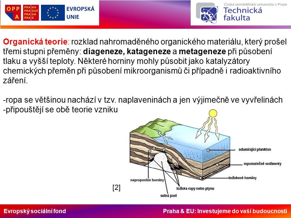 Evropský sociální fond Praha & EU: Investujeme do vaší budoucnosti Organická teorie: rozklad nahromaděného organického materiálu, který prošel třemi stupni přeměny: diageneze, katageneze a metageneze při působení tlaku a vyšší teploty.