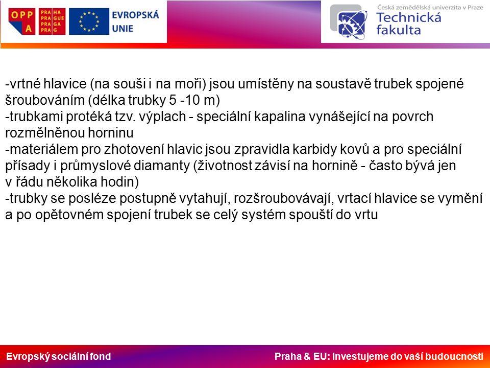 Evropský sociální fond Praha & EU: Investujeme do vaší budoucnosti -vrtné hlavice (na souši i na moři) jsou umístěny na soustavě trubek spojené šroubováním (délka trubky 5 -10 m) -trubkami protéká tzv.