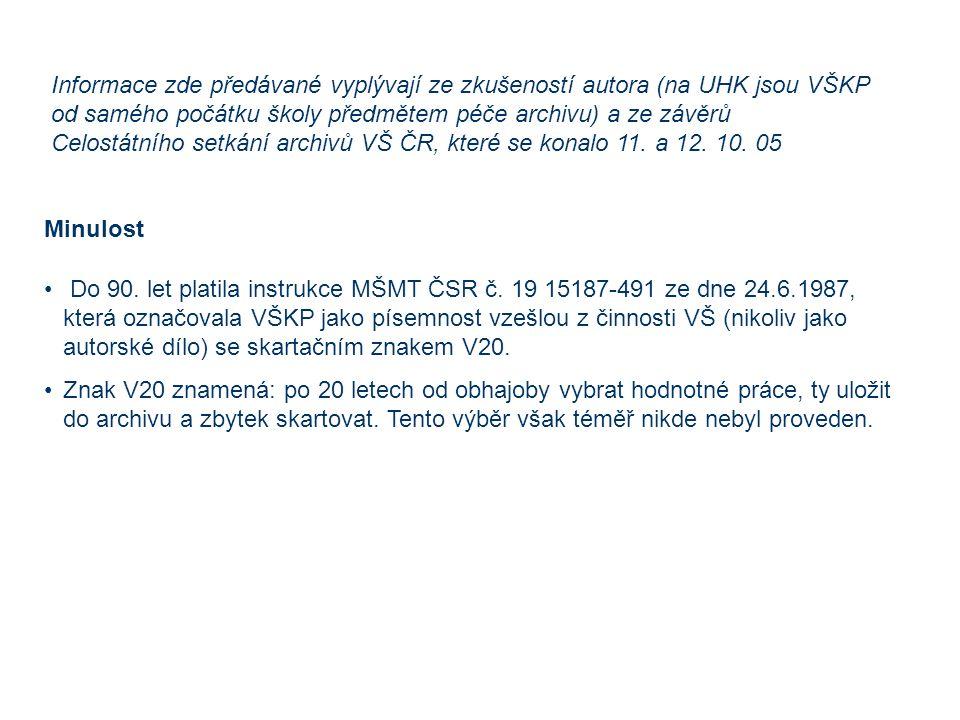 Informace zde předávané vyplývají ze zkušeností autora (na UHK jsou VŠKP od samého počátku školy předmětem péče archivu) a ze závěrů Celostátního setkání archivů VŠ ČR, které se konalo 11.