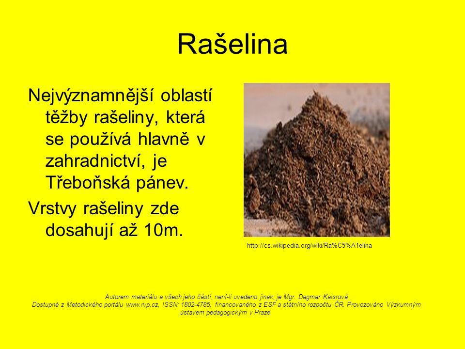 Rašelina Nejvýznamnější oblastí těžby rašeliny, která se používá hlavně v zahradnictví, je Třeboňská pánev.