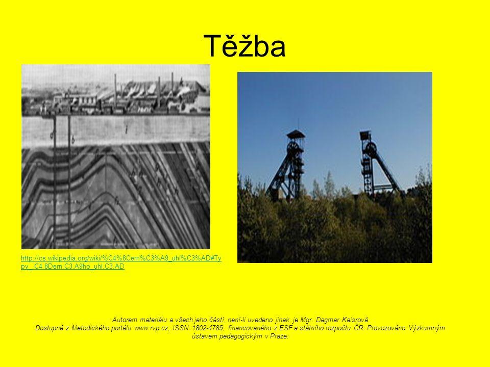 Těžba http://cs.wikipedia.org/wiki/%C4%8Cern%C3%A9_uhl%C3%AD#Ty py_.C4.8Dern.C3.A9ho_uhl.C3.AD Autorem materiálu a všech jeho částí, není-li uvedeno jinak, je Mgr.